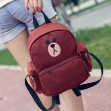[PRE-ORDER] Women Cute Line Brown Student Backpack