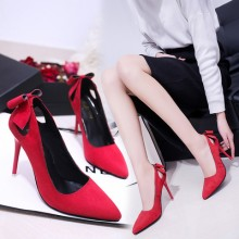 [PRE-ORDER] Women Sexy Pointed Head Ribbon High Heels