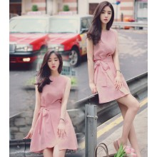 [PRE-ORDER] Women Ribbon Sleeveless Slim Dress