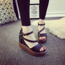 [PRE-ORDER] Women Fish Mouth Buckle Wedges Heels Shoes