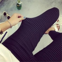 [PRE-ORDER] Women Plus Size XXXL Stripes Elastic Casual Long Pants