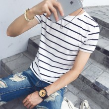 [PRE-ORDER] Men Plus Size XXXL Basic Stripes Short Sleeve T-Shirts