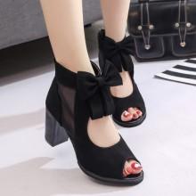 [PRE-ORDER] Women Ribbon Peep Toe Zipped High Heels