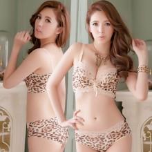 [PRE-ORDER] Women Leopard Sexy Lace Push Up Lingerie Bra Set