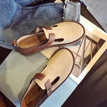 [PRE-ORDER] Women Retro Scrub Buckle Round Head Shoes
