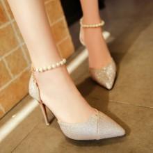 [PRE-ORDER] Women Shiny Diamond Pearl Pointed Head High Heels
