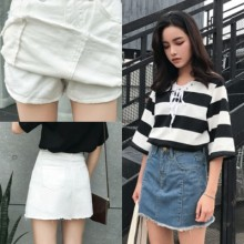 [PRE-ORDER] Women Casual Denim High Waist Pockets Skirt Pants