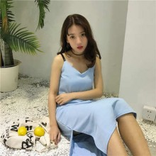 [PRE-ORDER] Women V Neck Blue One Step Strap Dress