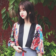 [PRE-ORDER] Women Japanese Printed Flora Kimono-Style Shawl