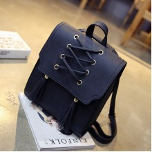 [PRE-ORDER] Women Korean Lace-Up Mini Tassel Backpack