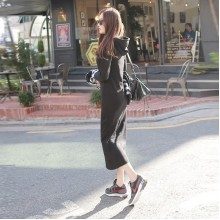 [PRE-ORDER] Women Black Longsleeve Sweater Hoodie Long Dress