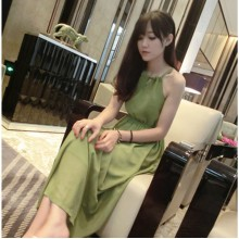 [PRE-ORDER] Women Mustard Green Spaghetti Summer Maxi Dress