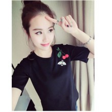 [PRE-ORDER] Women Cherry and Bee Embroidery Top Short Sleeve Blouse
