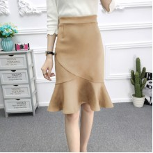 [PRE-ORDER] Women Leather Cashmere Above the Knee Fishtail Skirt