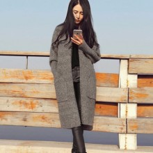 [PRE-ORDER] Women Long Sweater Long Sleeve Cardigan Loose Thick Jacket