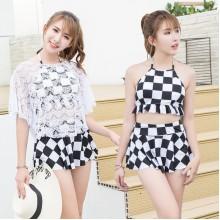 [PRE-ORDER] Women Checkered Beach Wear 3 Piece Tank Skirt & Cover-up Set
