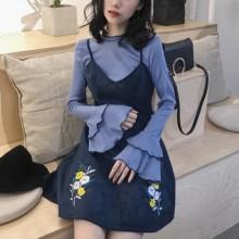 [PRE-ORDER] Women Retro Korean Suede Flower Embroidery Harness Dress