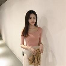 [PRE-ORDER] Women Korea Lotus Pink Slim Round Neck T-shirt