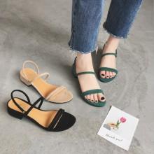 [PRE-ORDER] Women Low-heeled Roman Open Toe Suede Sandals