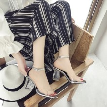 [PRE-ORDER] Women Transparent High-Heeled Fish Mouth Crystal Sandals