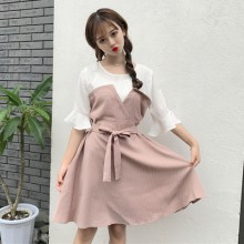 [PRE-ORDER] Women Korean Striped Lotus Leaf Sleeved Dress
