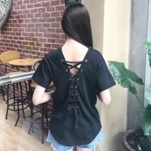 [PRE-ORDER] Women V-neck Short-sleeved T-shirt Plain Back Lace T-Shirt