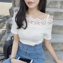 [PRE-ORDER] Women Flower Strapless Short-sleeved T-shirt
