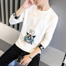 [PRE-ORDER] Men Round Neck Kitty No Warm Long-Sleeved T-shirt