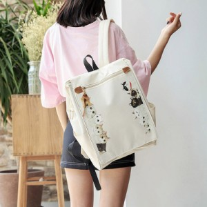[PRE-ORDER] Women Cute Kitty Cat Animal Canvas School Backpack