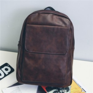 [PRE-ORDER] Men PU Leather Simple Design Student Leisure Travel Backpack