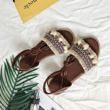 [PRE-ORDER] Women Summer Bohemian Straps Flat with Lace Flat Sandals