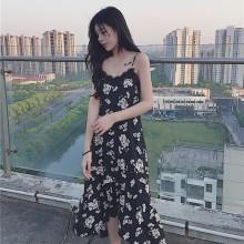 [PRE-ORDER] Women OL Spaghetti Strap Black Floral Print Maxi Dress