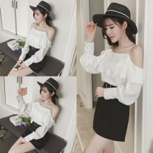 [PRE-ORDER] Women Off Shoulder with Strap Ruffle Long Sleeves Top