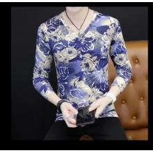[PRE-ORDER] Men V-Neck Floral Long Sleeves T-Shirt