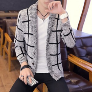Men's Long Sleeved Coat Knit Cardigan Sweater  Plus Size Trend Cloak